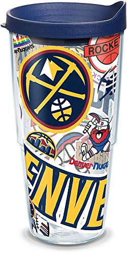 Tervis 1309310 NBA Denver Nuggets All Over Insulated Tumbler with Wrap and Navy Lid 24oz Clear