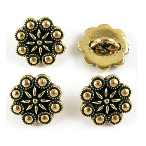 (TierraCast Pewter Buttons-Antique Gold Czech Rosette (4))