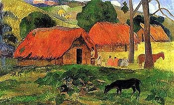 village-in-tahiti-by-paul-gauguin-size-34-inches-width-by-24-inches-height-art-poster-print