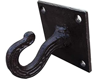 RUN 1 Piece Cast Iron Ceiling Hook Decorative Robe Clothes Wall Hook Hanger, Screws Included