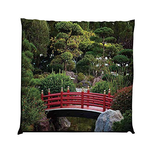 YOLIYANA Apartment Decor Durable Square Chair Pad,Tiny Bridge Over Pond Japanese Garden Monte Carlo Monaco Along with Trees and Plants Decorative for Bedroom Living Room,One Size ()