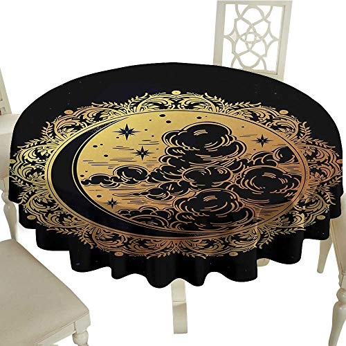 HeKua Psychedelic,Kitchen Table Cover Authentic Spiritual Ethnic Occult Tribal Medieval Ethnic Graphic Artwork Tablecloths for Outdoor and IndoorGolden Black D 36