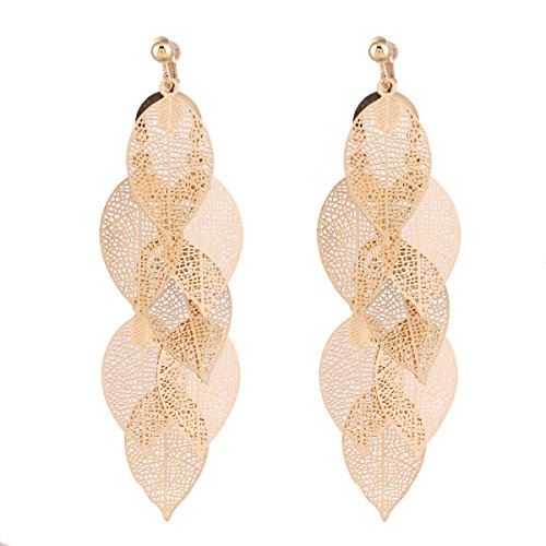 Grace Jun New Handmade Multi-layer Dangle Drop Earrings and Clip on Earrings No Pierced for Women (Gold Clip-on 1)