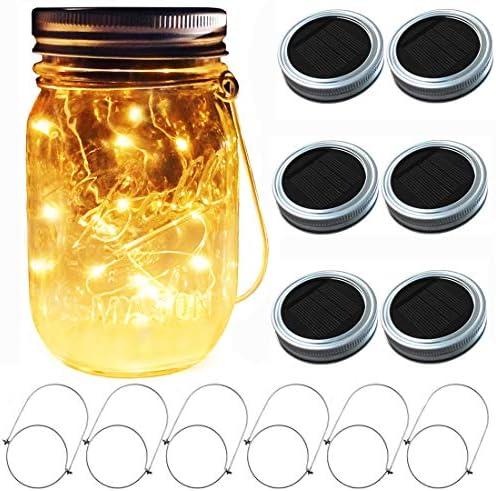 Aubasic Solar Mason Jar Lights, 6 Pack 30 LEDs Fairy Fireflies String Lid Lights, Fits Most Regular Mouth Mason Jars, Best Patio Yard Desktop Party Decor Solar Lanterns 6Pack-20Leds Lids No Jars