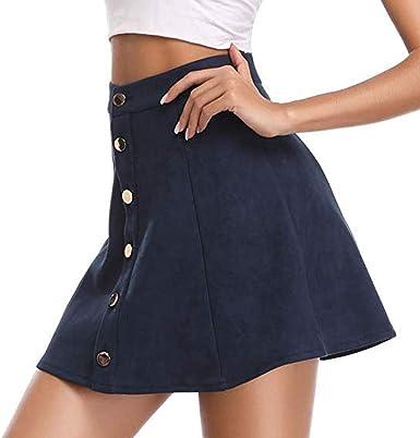 Falda con Botones de Terciopelo para Mujer Dwevkeful Moda Casual ...
