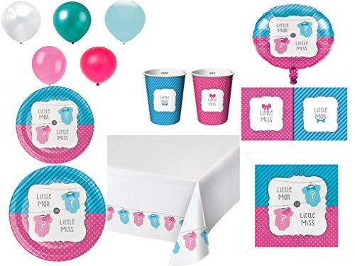 Disposable Plates/Napkins/Cups/Tablecloth/Balloons Bow or Bowtie Gender Reveal Baby Shower party, 8-Piece Bundle