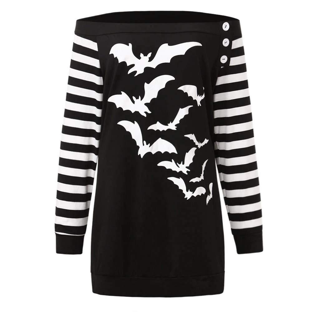 Luckycat Las Mujeres más tamaño murciélagos fríos del Hombro Imprimen la Sudadera con Capucha del botón de Halloween Superior: Amazon.es: Ropa y accesorios
