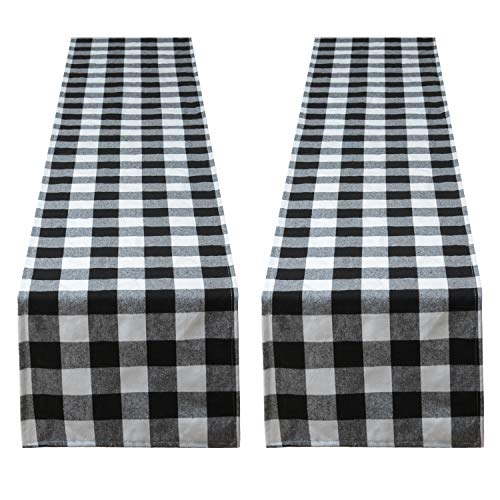Aneco 2 Pack Checkered Table Runner Cotton Table Runner Trendy Modern Plaid Design Table Runner Elegant Decor for Indoor Outdoor Events 13 x 108 Inches Black and White]()