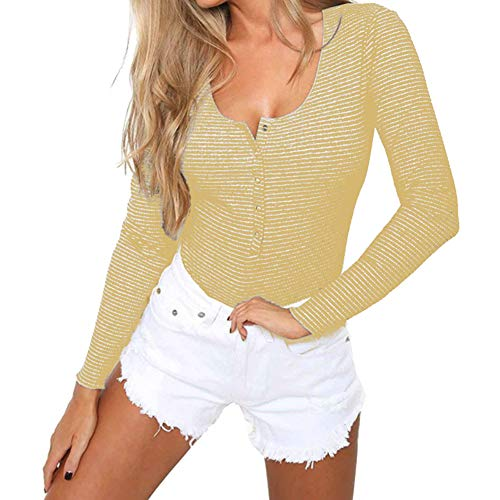 - PALINDA Women's Long Sleeve Button Down Striped Stretchy Leotard Bodysuit (Yellow,S)