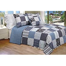 [Daniel] 100% Cotton 3PC Vermicelli-Quilted Striped Patchwork Quilt Set (King Size)