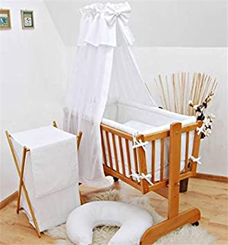 8 Pcs Crib Bedding Set With Canopy Holder All Round Bumper 90x40