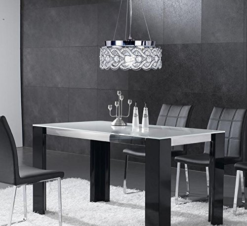SwanHouse Flush Mount Pendant Ceiling Lighting Chandelier Silver Modern Lamp KPP W15 x H9 by SwanHouse (Image #8)