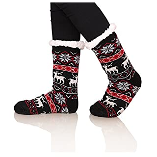 SDBING Women's Warm Cozy Fuzzy Fleece-lined Knee Highs Christmas gift Slipper socks (Black)