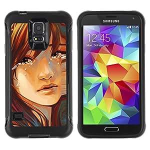ZAAAZ Rugged Armor Slim Protection Case Cover Durable Shell - Sad Girl - Samsung Galaxy S5