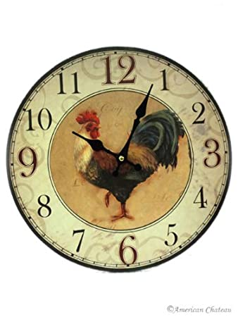 Rooster Wall Clock Farm French Country Kitchen Decor Rise And Shine