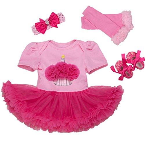 AISHIONY 4PCS Baby Girl Newborn 1st Birthday Tutu Onesie Outfit Princess Dress L ()
