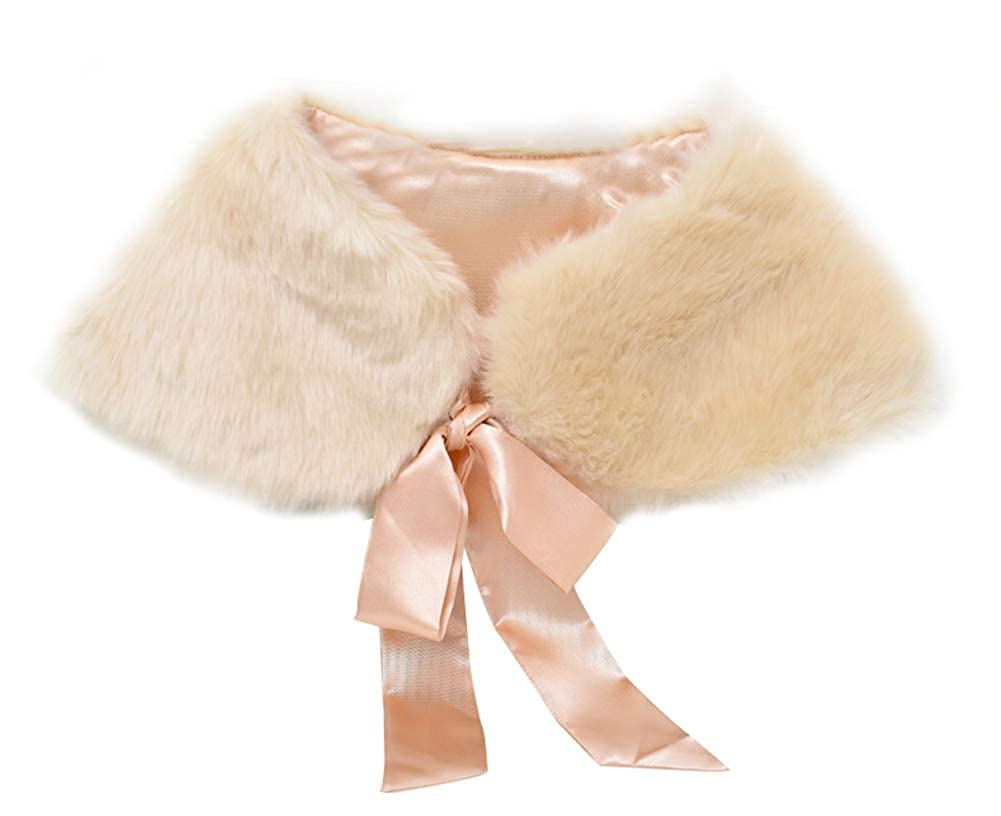 KSDN Girls Faux Fur Flower Cape Winter Ribbon Tie Short Shrug Stole Warm Bolero Shawl