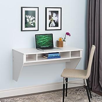 amazon com prepac wall mounted designer floating desk in white rh amazon com wall mounted floating desk walnut 32 drywall wall mounted floating desk with storage