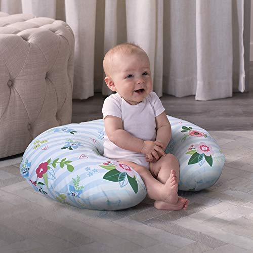 51bMjGlj5lL - Boppy Original Nursing Pillow And Positioner, Blue Pink Posy, Cotton Blend Fabric With Allover Fashion