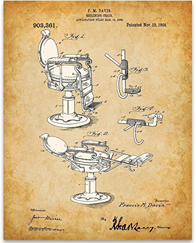 Reclining Barber Chair Patent Print - 11x14 Unframed Patent - Great Barber Shop Decor or Hair ()