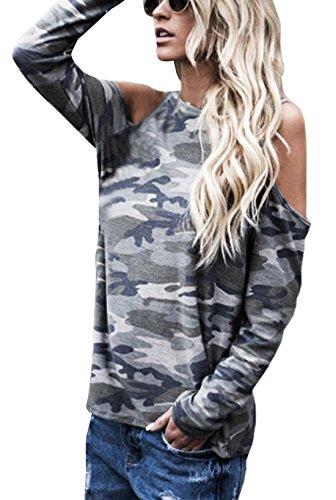 Fashion Dnude de Haut et Tops Verte Manches Automne Rond Tunique Les paule Blouses T Femme Camouflage Arme Printemps Jours Shirts Col Tous Longues Casual 7YTYw