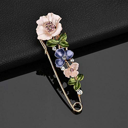 Fashion Jewelry Collar Lapel Scarf Pin Animal Shape Badge Flower Brooch (Color - Pink) ()