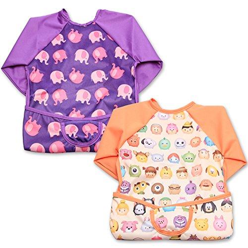 Luxja Baby Waterproof Sleeved Bib, Long Sleeve Bib for Toddler (6-24 Months), Cartoon Face + Pink Elephant