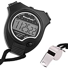 Stopwatch Timer BizoeRade Sports Digital Stopwatch Clock with Large Display & Whistle for Kids,Coach,Referee,Training,Running,Competition