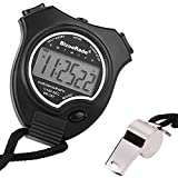BizoeRade Stopwatch Timer Sports Digital Stopwatch Clock with Large Display & Whistle for Kids,Coach,Referee,Training,Running,Competition