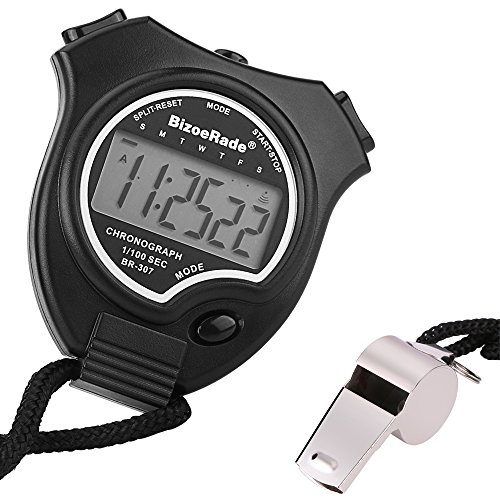 BizoeRade Stopwatch Timer Sports Digital Stopwatch Clock with Large Display & Whistle for Kids,Coach,Referee,Training,Running,Competition -