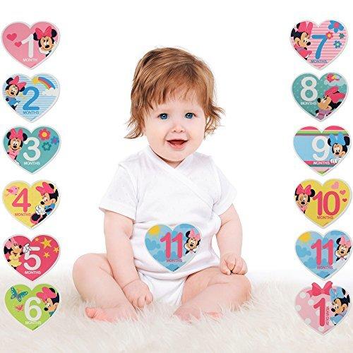 Disney Baby Girls Minnie Mouse Monthly Milestone Photo Prop Belly Stickers, 12 Sticker Gift Set, 0-12M (Heart Shaped Sticker Set)
