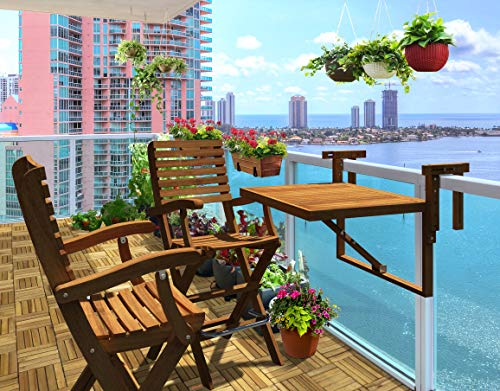 INTERBUILD REAL WOOD Toronto Balcony Table &Casino Bar Chairs (1 Table + 2 Chairs) |Small Balcony, Saving Space Table Set | Folding Table Set | Golden Teak Finishing (Patio Toronto)