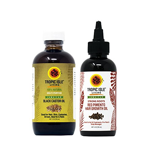 Tropic Isle Living Jamaican Strong Roots Red Pimento Hair Growth Oil + Jamaican Black Castor Oil 4oz Set by Tropic Isle Living