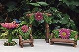 Miniature Dollhouse Fairy Garden Set 4 Pink Flower Arch Bench Chair Birdbath