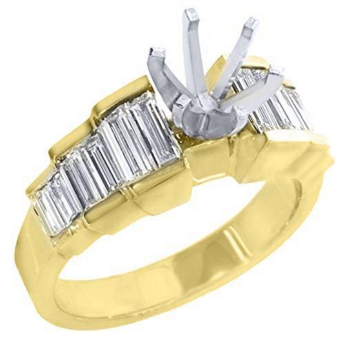 14k Yellow Gold Baguette Diamond Engagement Ring Semi Mount 1 (Yellow Baguette Diamond Semi Mount)