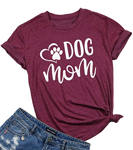 (JINTING Funny Dog Mom Tees Shirts for Women with Sayings Short Sleeve Letter Print Cute Graphic Mom Tee Shirts Claret)
