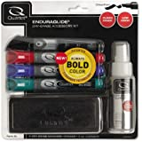 Quartet EnduraGlide Accessory Kit, 4 Chisel-Point Dry Erase Markers in Mixed Colors, With Eraser and Cleaning Spray (5001M-4SK)