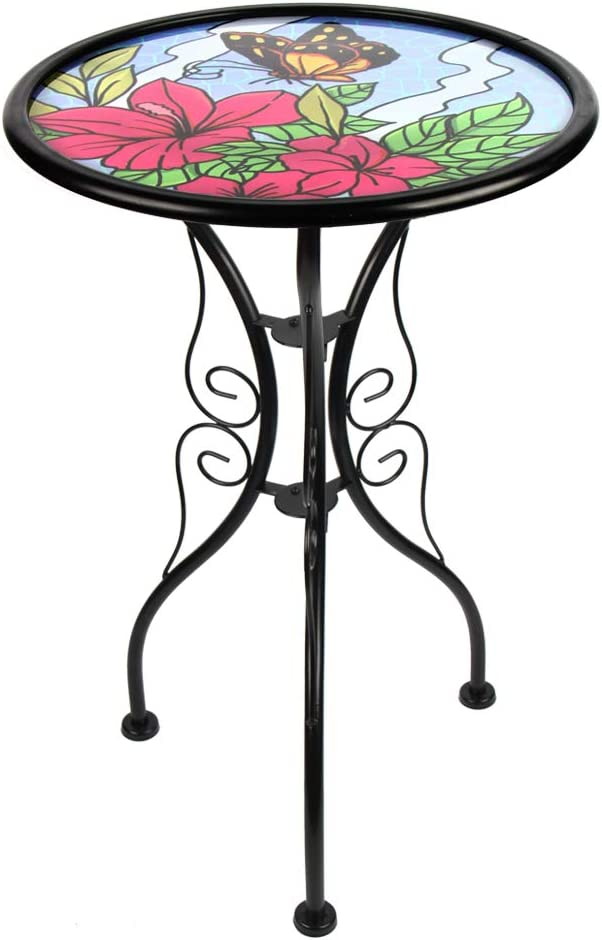 HONGLAND Butterfly Outdoor Side Table Accent Round Painted Glass Desk for Garden,Patio, Dining Room 14 Inches