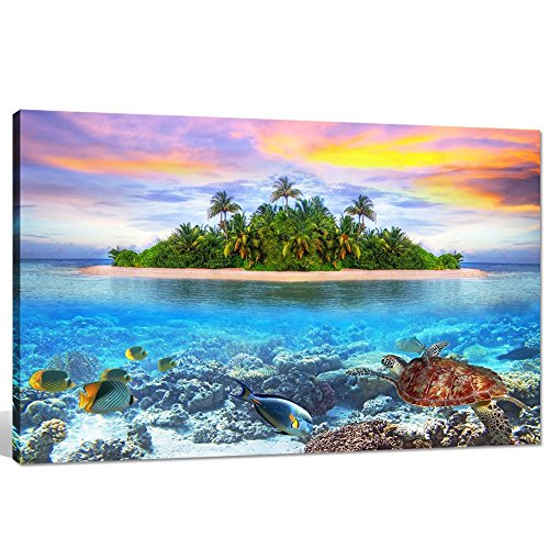 Sea Charm- Beautiful Seascape Wall Art,Fish and Turtle Swimming in Clear Sea Picture Canvas Print,Tropical Island of Maldives,Gallery Wrapped,Home Wall Decor Landscape Artwork 24