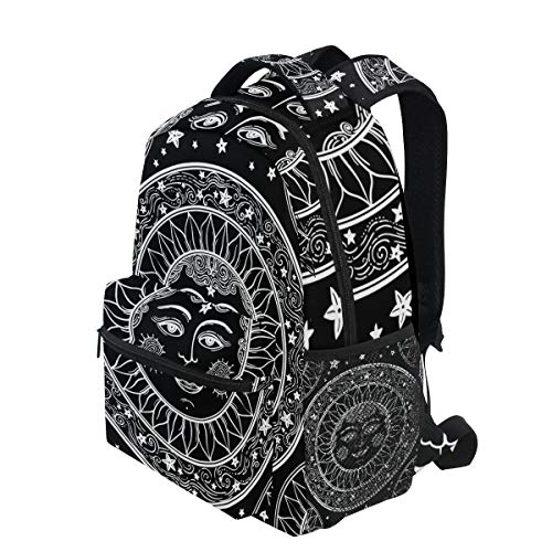 KUDOUXIA School Backpack Beautiful Sun Face Stars Medallion Ornament 1st Grade Lightweight Bookbag Daypack Fits Small Laptop for Kids Teens Travel Bag with 2 Side Pouchs Adorable 16
