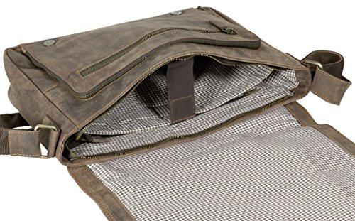 Vintage Echtleder Laptoptasche 15 Zoll Studententasche dunkelbraun geölt ca.40x30x10cm (BxHxT) Trendyshop365 DXvAva