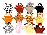 Playscene0153; Velour Animal Finger 8 Inch Puppets, Kids Toy Preschool Kindergarten Puppets (12 Puppets)