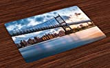 Ambesonne New York City Place Mats Set of 4, Kennedy Triboro Bridge in Queens New York Manhattan River Scenery, Washable Fabric Placemats for Dining Room Kitchen Table Decor, Peach Blue Orange