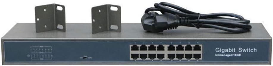 SEXTT Conmutador PoE + de 16 Puertos Completo Gigabit montado en Bastidor cáscara de Hierro protección contra Rayos ingeniería de Datos en Red conmutador Ethernet