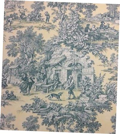 Fabric Scenic Toile 540 Pale Yellow Country French Toile Fabric 54