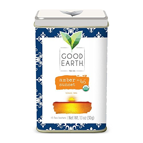 Good Earth India Tea - Good Earth Tea Amber Sunset - Premium Organic Tea Sachets - Robust black tea with a slight tartness and smooth, creamy finish - Caffeinated, 15 Count