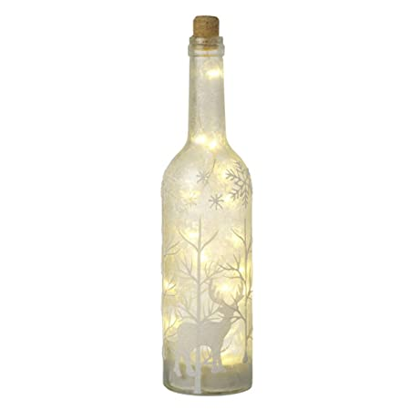 Light Up Frosted Glass Bottle With LED's Inside Christmas Decoration Magnificent Decorated Wine Bottles With Lights Inside