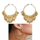 Mrotrida Fashion Big Hoop Earrings for Women Girls Exaggerated Metal Tassel Dangle Earring Gold Party Geometry Drop Earrings