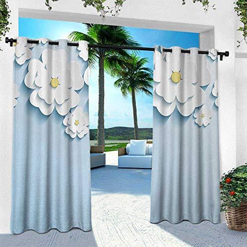 Hengshu Flowers, Outdoor Curtain Waterproof Rustproof Grommet Drape,Abstract 3D Style Effect Cherry Blossoms Modern Spring Sakura Pattern, W96 x L84 Inch, Light Blue and White