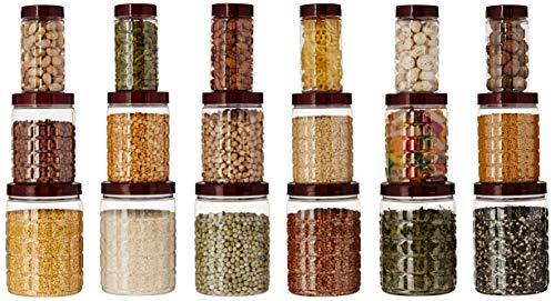 Amazon Brand – Solimo Checkered Jar Set of 18, 1000 ml, 500 ml, 200 ml, Transparent, Plastic